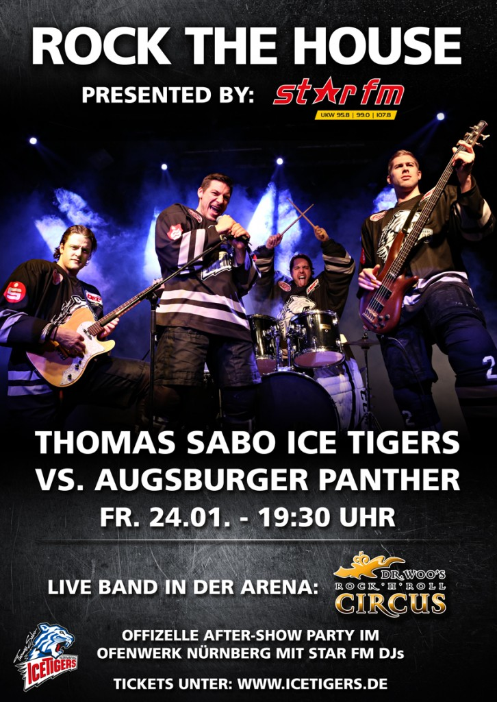 "Werbeplakat für den ""Rock the house"" Spieltag der THOMAS SABO Ice Tigers"
